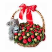 """Букет из конфет """"Мишка с цветами"""""""
