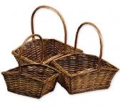 Комплект плетеных корзин (кофейный)