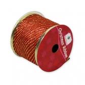 Декоративная лента (Красная, золотые полоски)