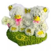 """Мишки из цветов """"Жених и невеста"""""""