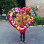 Сердце из шаров с надписью